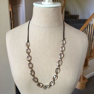 American Eagle Plastic Bead Leather Cord necklace